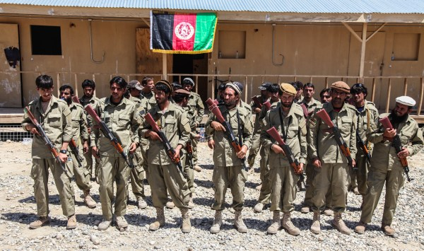 File:Afghan Local Police (ALP) class members stand in ...
