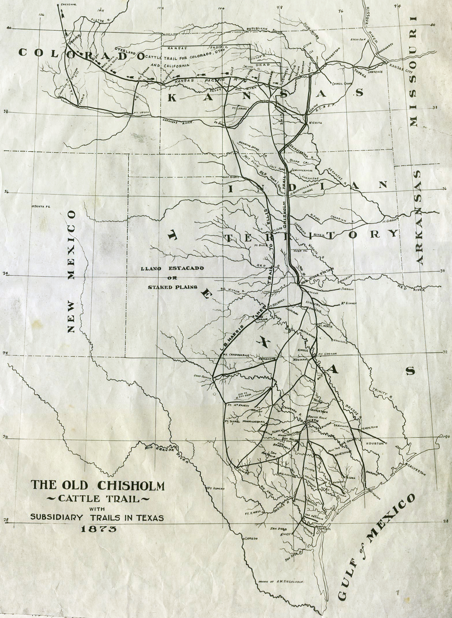 File Map Of Chisholm Trail With Subsidiary Trails In