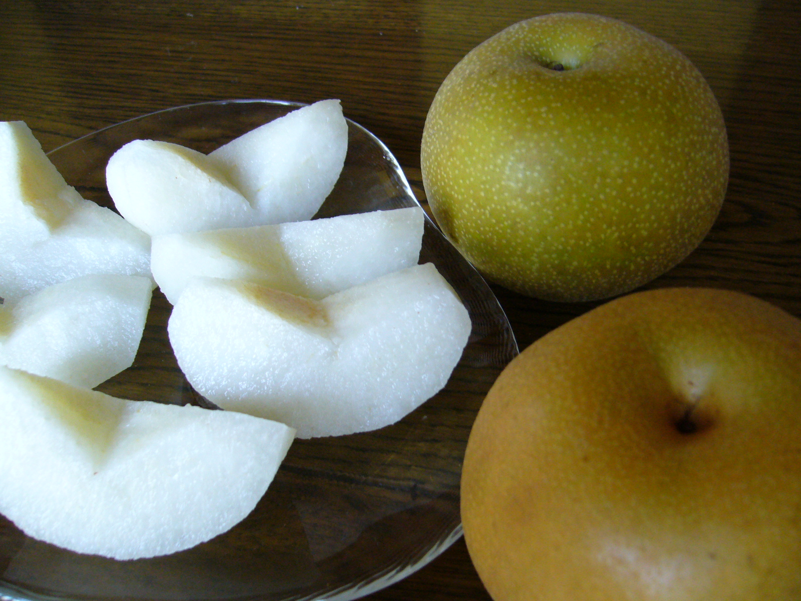 Nashi pears, taste like pears, look like apples
