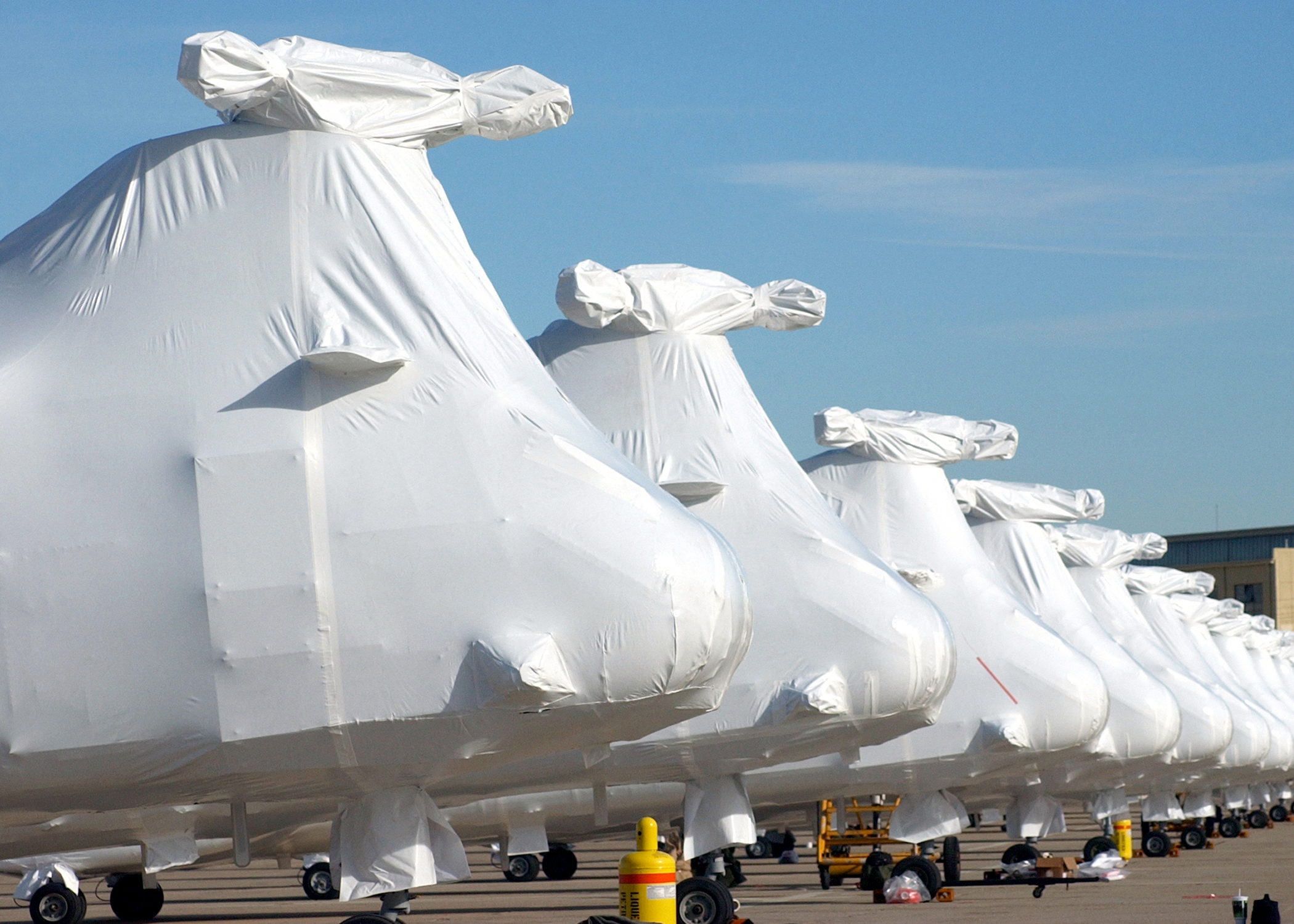 Shrink wrapped helicopters