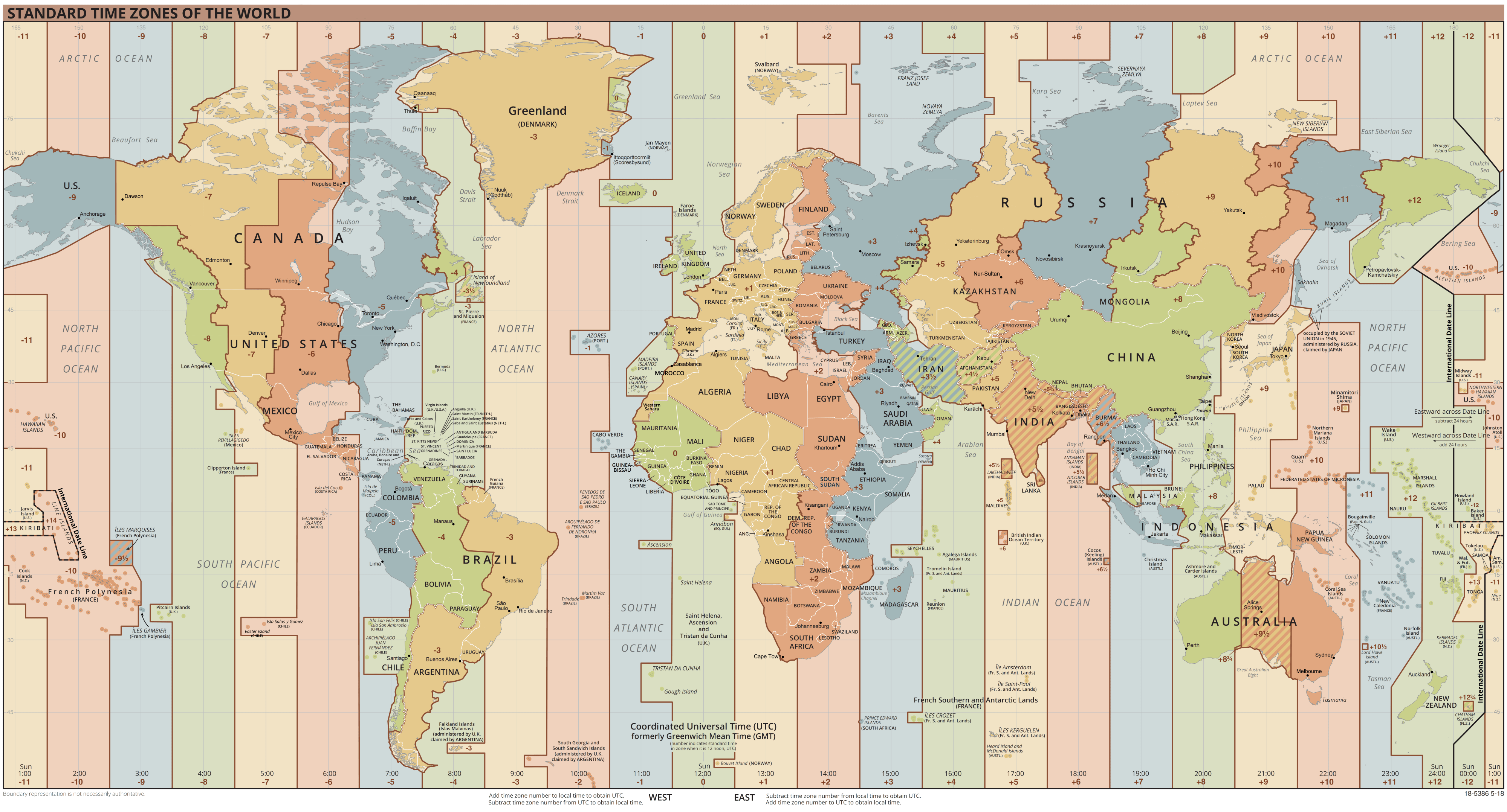 Latest Time Zone Map Now That Russia Has Added Their