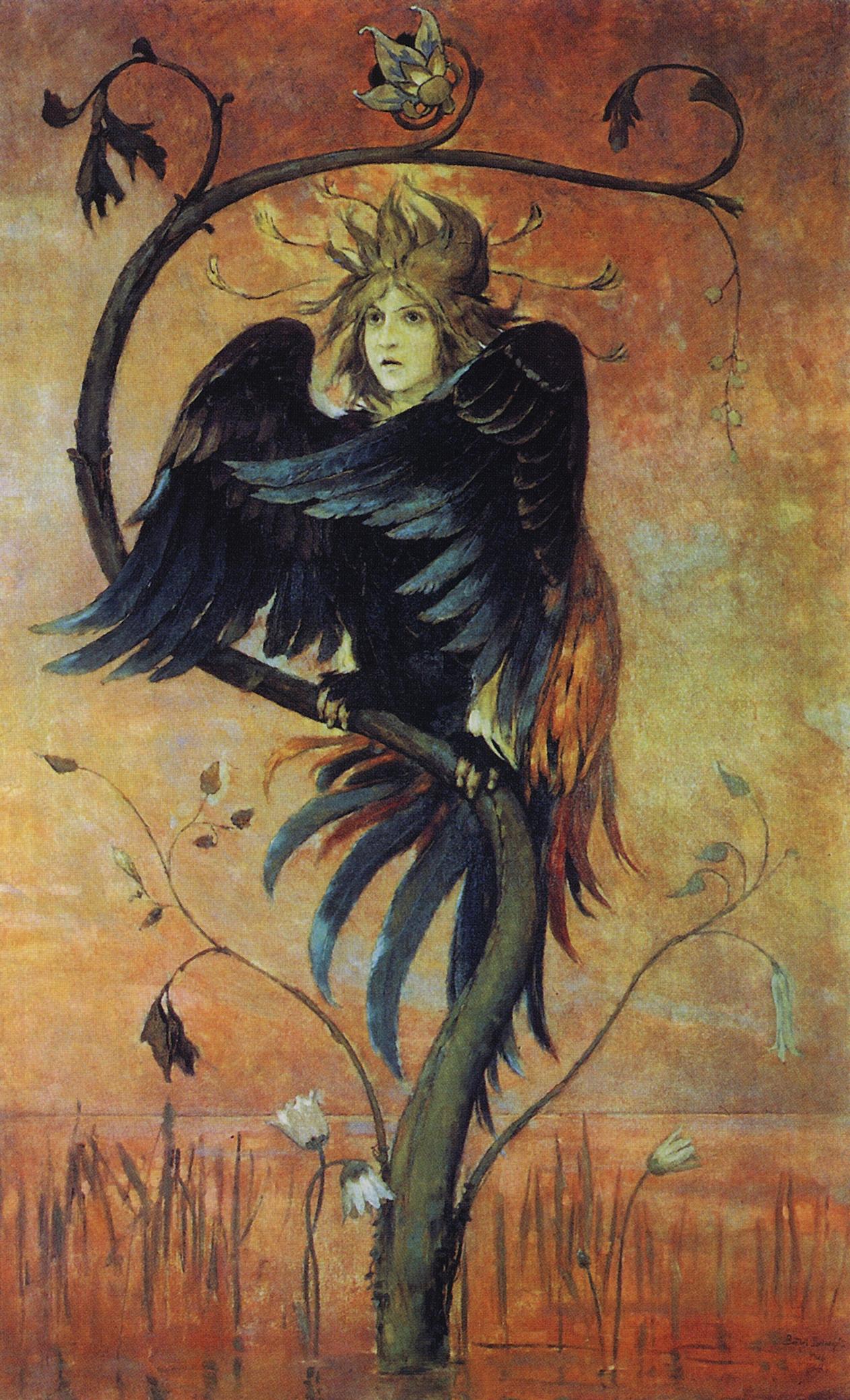 Gamaun, The prophetic bird by Viktor M. Vasnetsov (1848–1926).