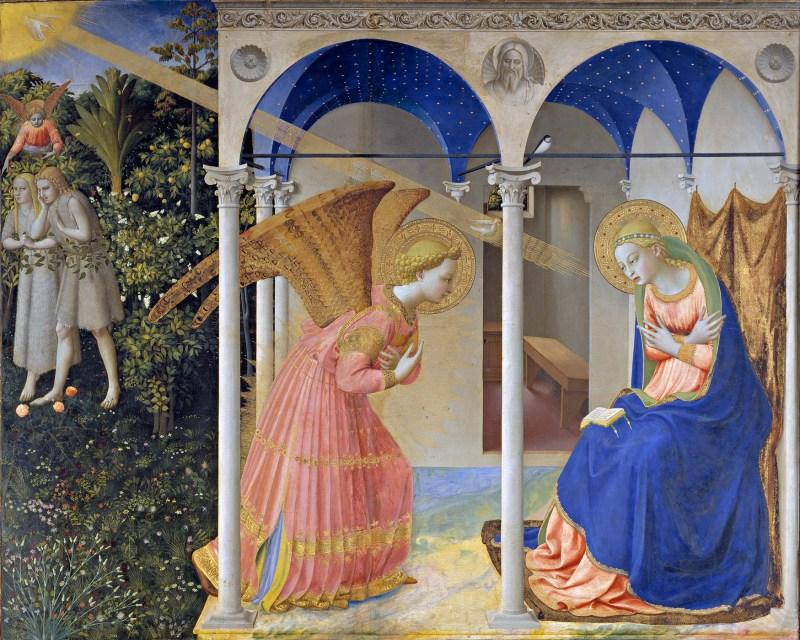 La Anunciación de María y expulsión de Adán y Eva del Paraíso.   Fra Angelico.
