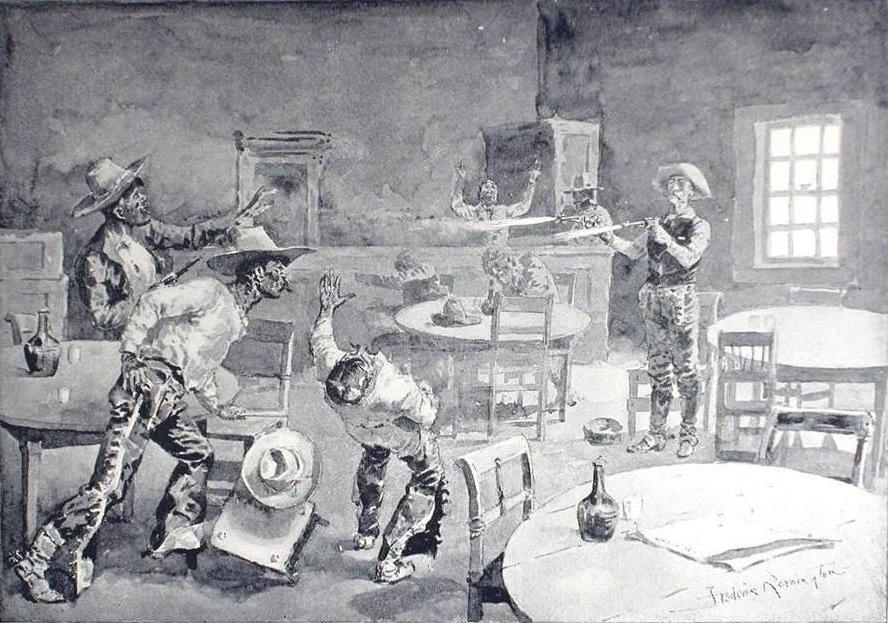 """""""Them Three Mexicans Is Eliminated"""" by Frederic Remington"""