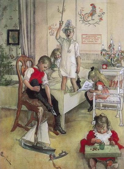 Juldagens morgon, 1894,  door Carl Larsson via Wikimedia Commons