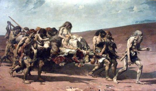 Caïn fuyant avec sa famille, Fernand Cormon, Musée d'Orsay, Paris (1880).