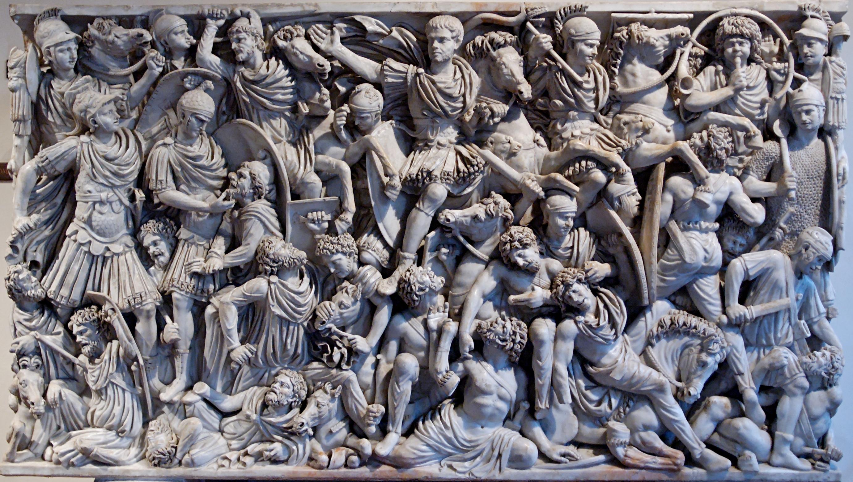 Battle between Goths and Romans.