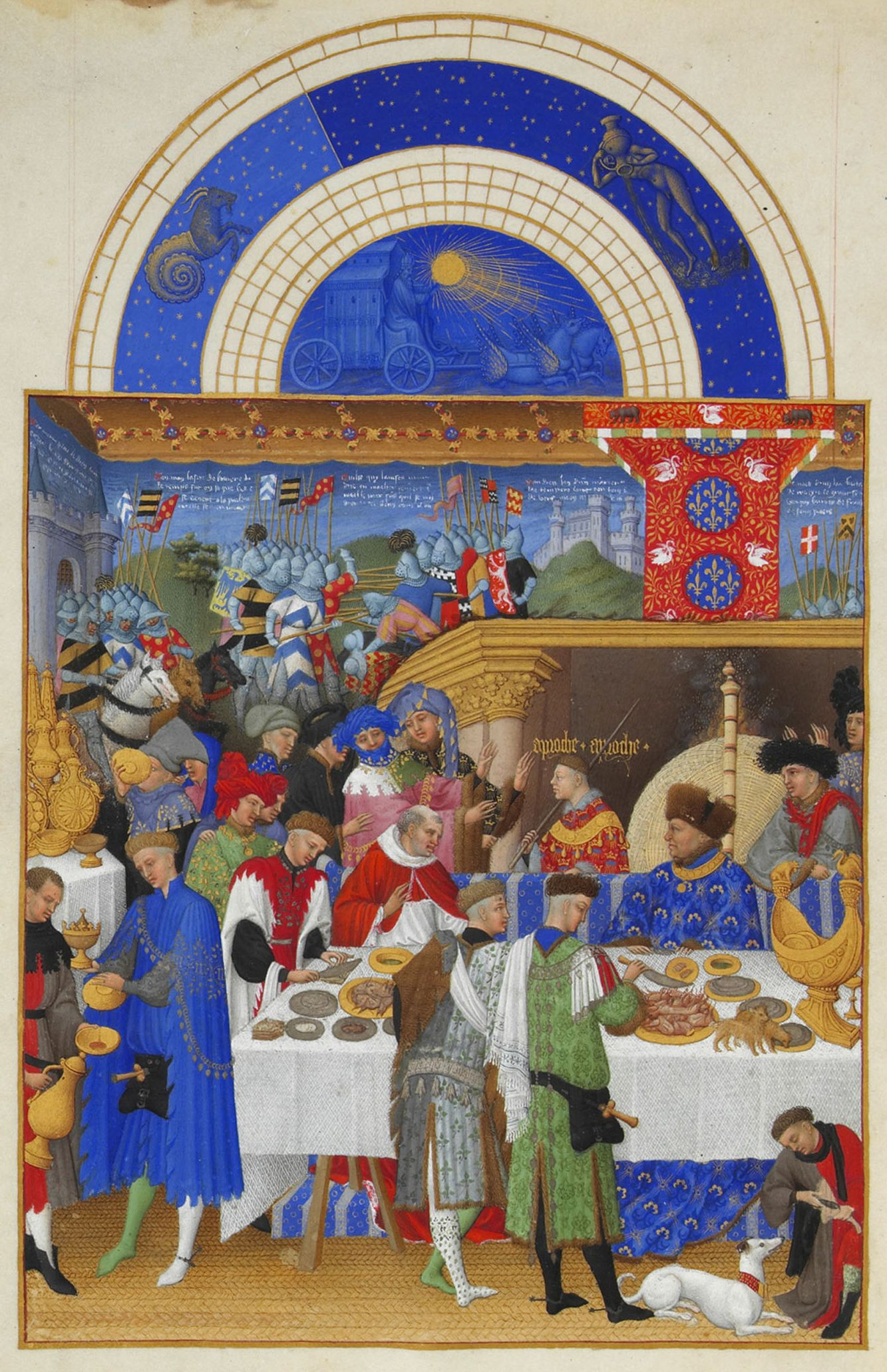 "Limbourg Brothers, ""The Book of Hours."" The exchange of gifts at the court of the Duke de Berry in the New Year."