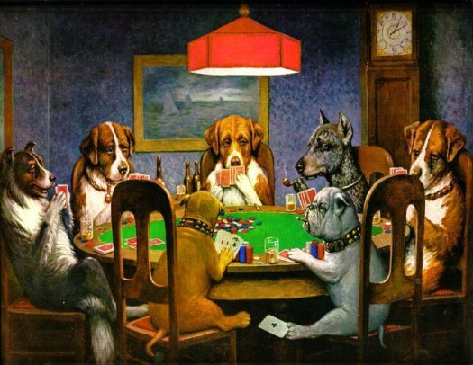 Dogs playing poker, and cheating