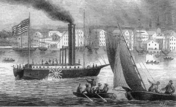 ロバート・フルトンの開発した外輪蒸気船クラーモント号