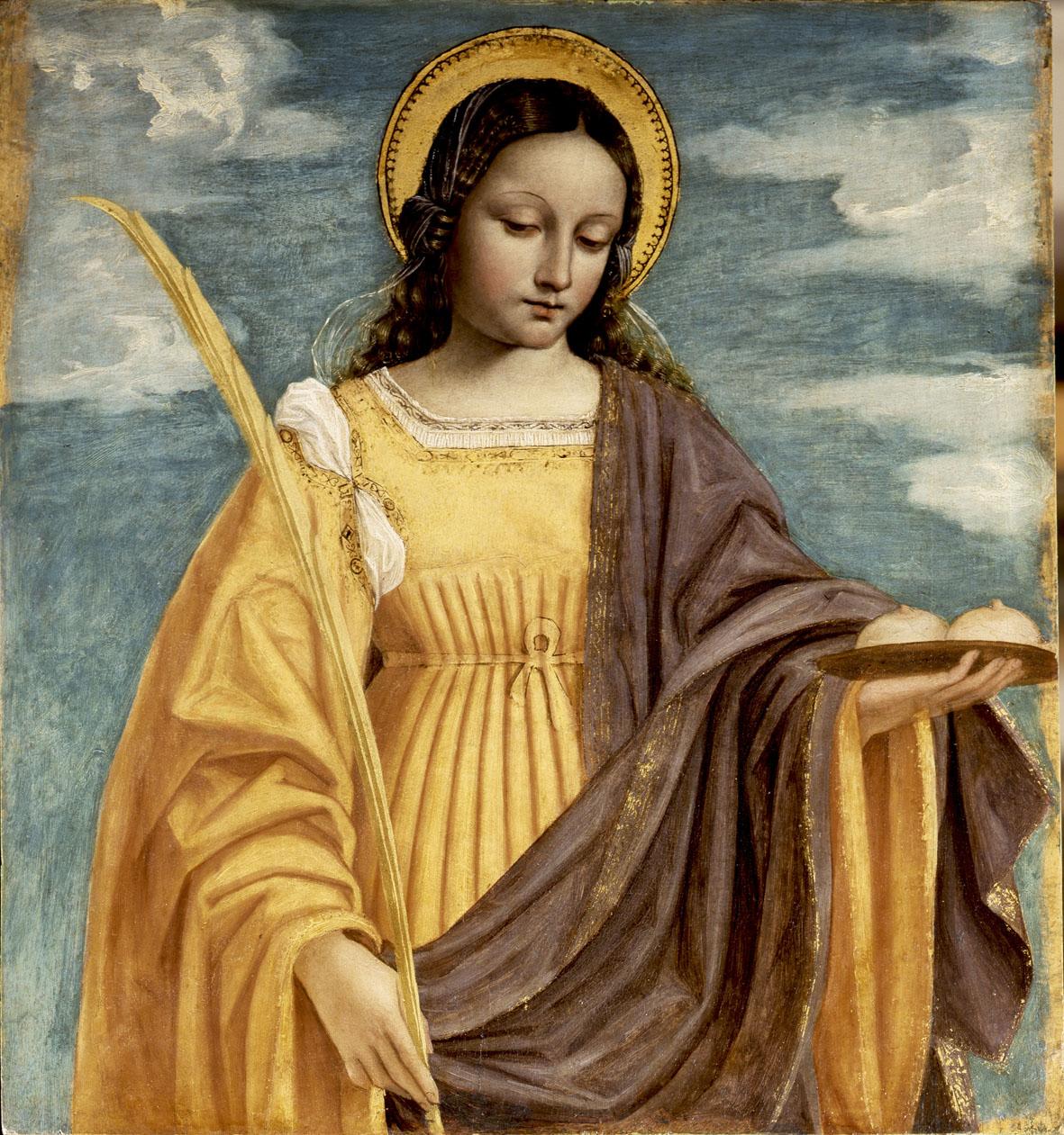 Icoon van de heilige Agatha met haar borsten op een schaal.
