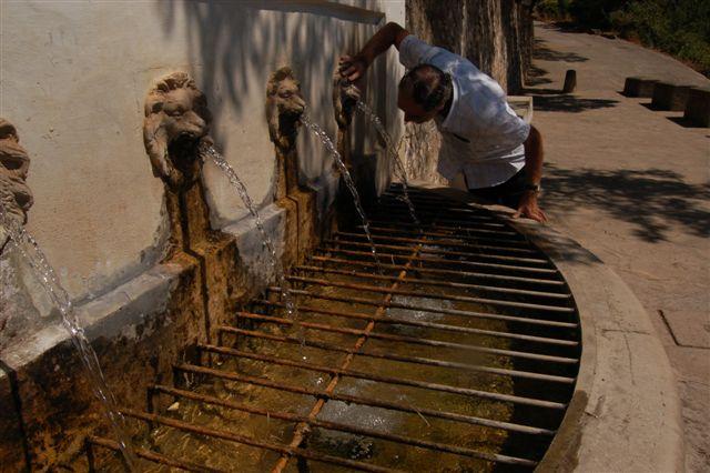 Man drinking water from gargoyle