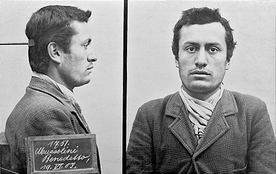 Mussolini after his arrest. Photo Swiss police, 1903