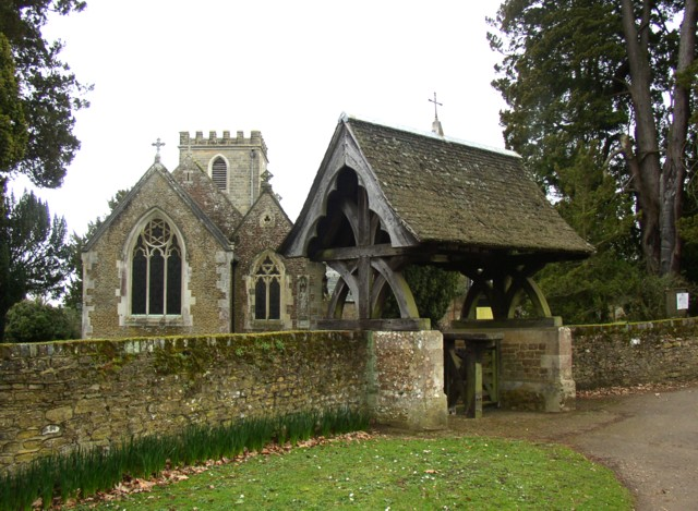 File:Lychgate and east end of St Nicholas's Church, Peper Harow