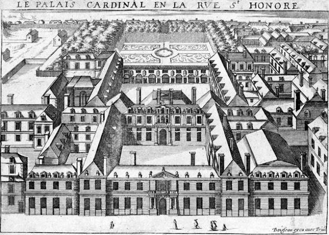 Bird's-eye view of the Palais-Cardinal looking toward the north from the south side of the rue Saint-Honoré, circa 1641.