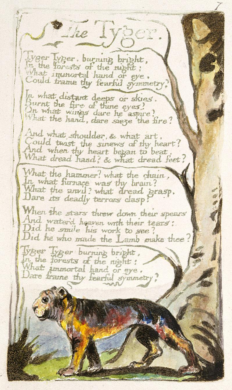 La nota poesia di William Blake stampata da lui stesso...