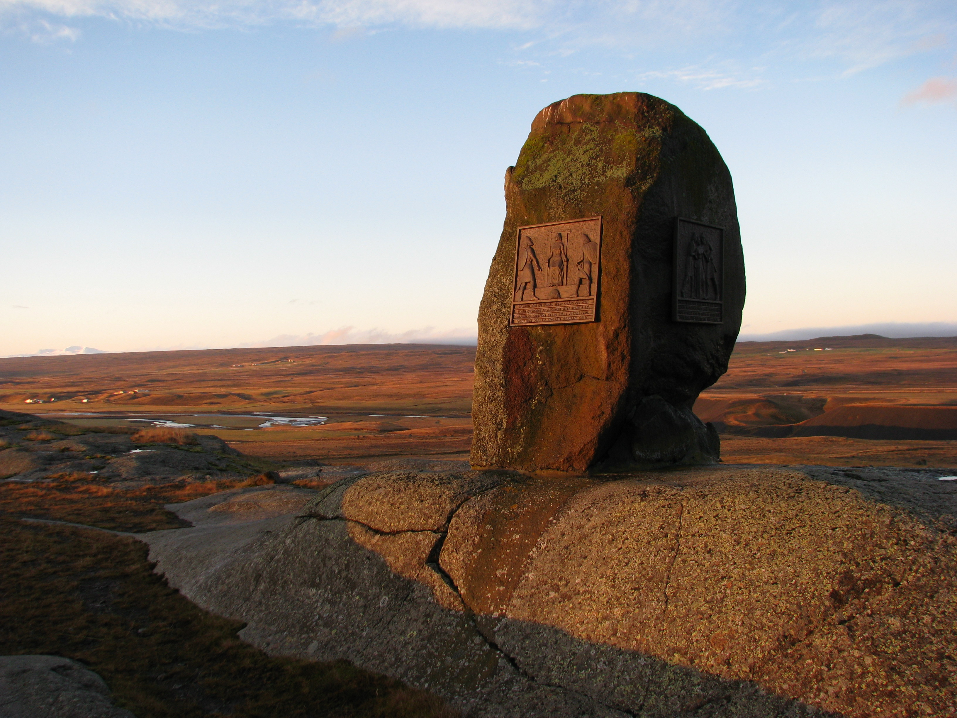 Photo of the memorial to Grettir the Strong at Bjarg in Iceland