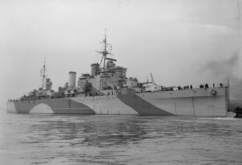 British heavy cruiser HMS LONDON under tow on ...