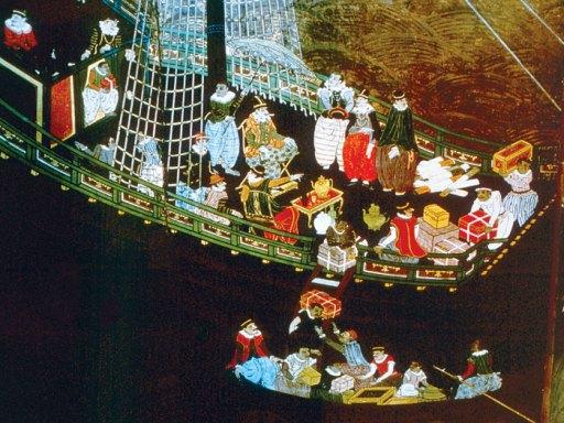 Portuguese traders landing in Japan