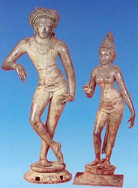 Chola Bronze icon. Siva and Parvathi c. 1200 C.E.