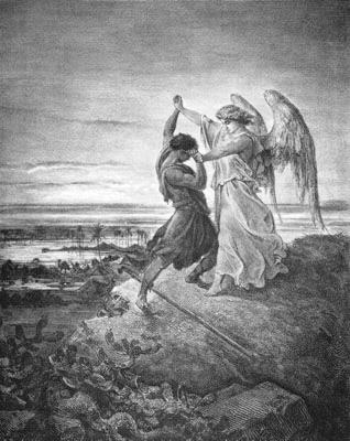 """""""יעקב נאבק עם מלאך"""", גוסטאב דורה, 1855"""
