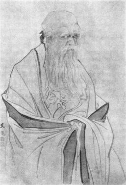 Painting picturing Laozi looking troubled