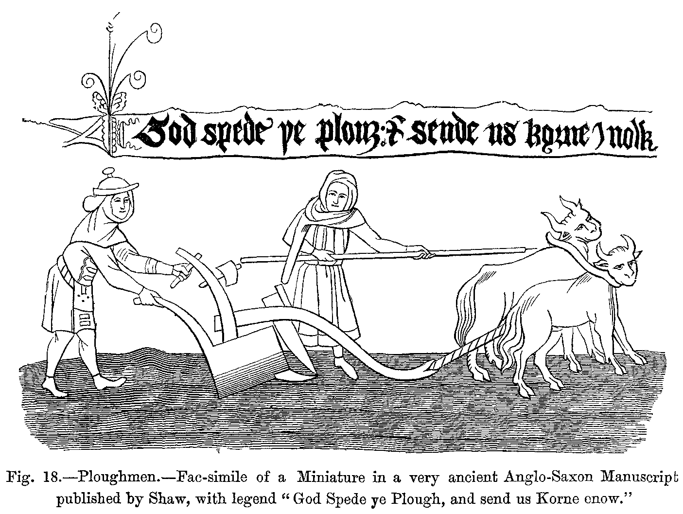 File Ploughmen Fac Simile Of A Miniature In A Very Ancient Anglo Saxon M Cript Published By