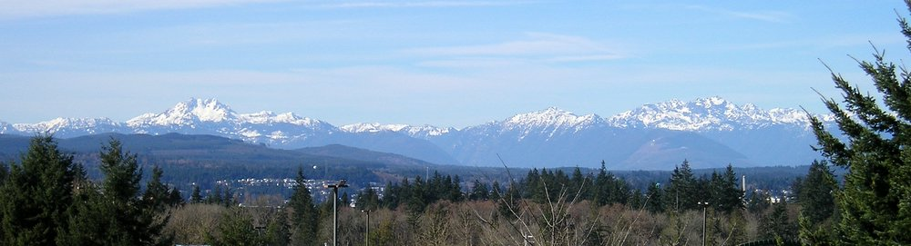 Olympic Mountains in the winter, seen from the East