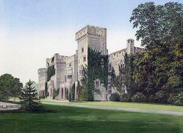 Picturesque asymmetrical Downton Castle Shropshire England, showing irregular design