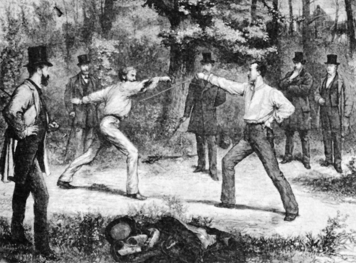 Duel at Bois de Boulogne by Durand, 1874