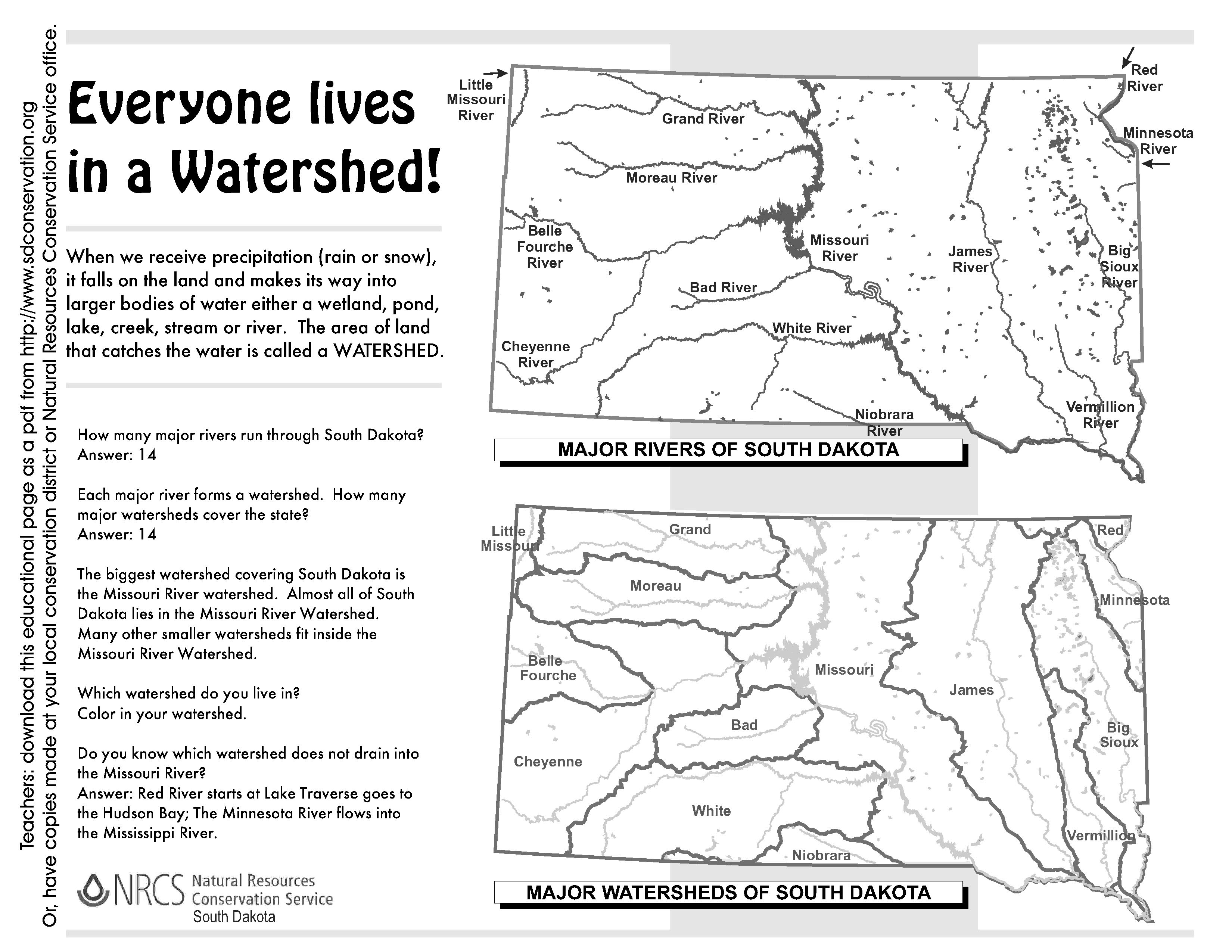 File South Dakota Watersheds Worksheet Answers
