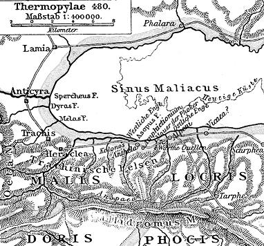 El desfiladero de las Termópilas, pequeño paso que limitaba en un extremo con el Golfo Mal�aco y en otro con los montes Oeta y Cal�dromo. Comunicaba Locria con Tesalia.