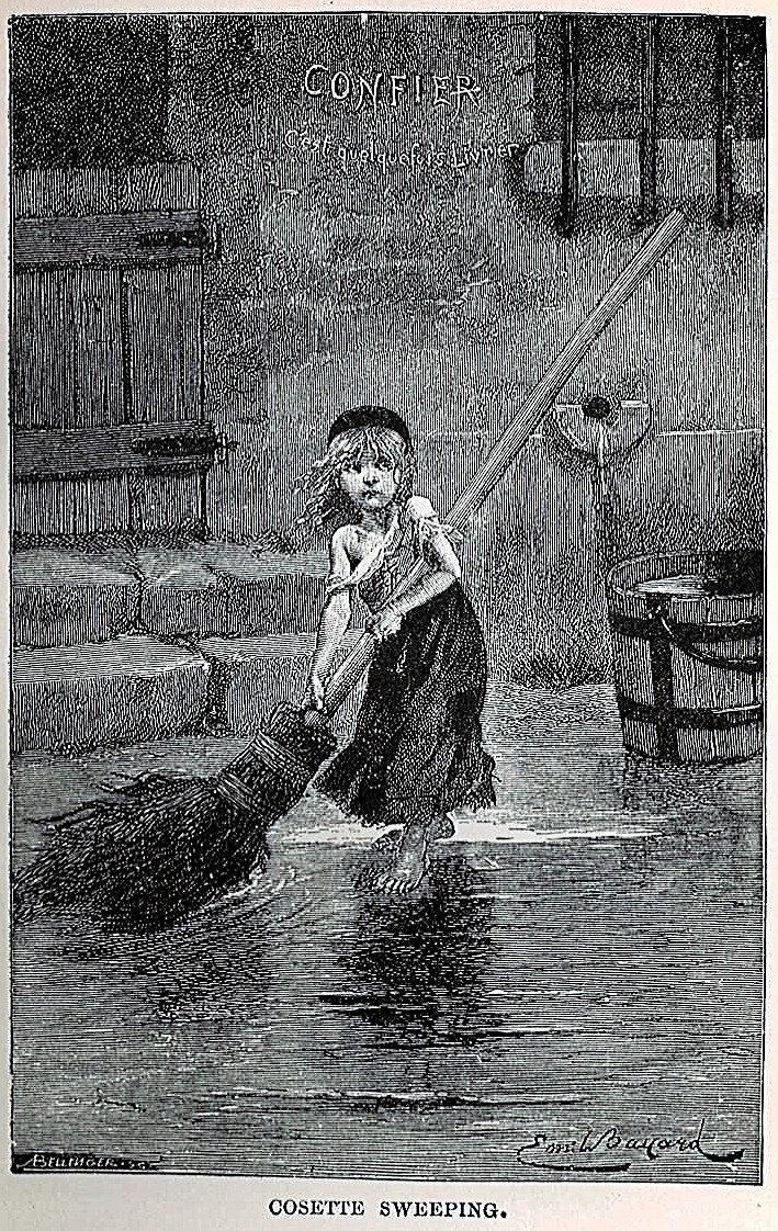 Portrait of Cosette by Emile Bayard, from the original edition of Les Misérables (1862)