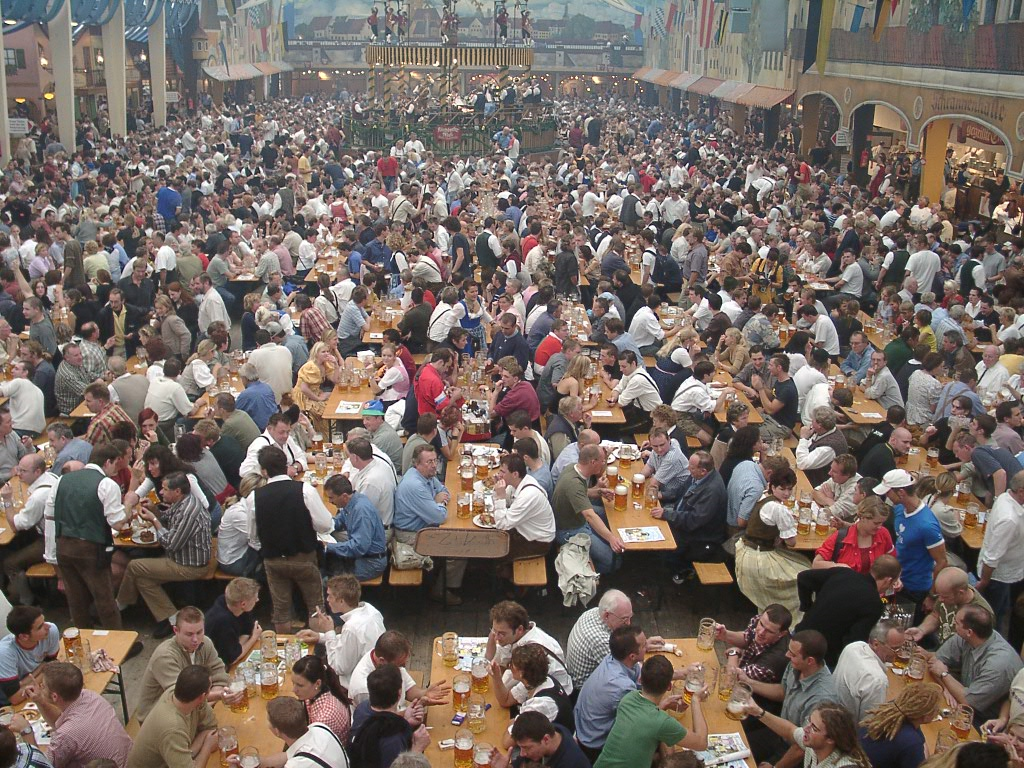 Beer for the masses (aka a picture of a lot of people drinking beer at Oktoberfest)
