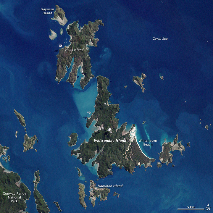 Satelite picture of the Whitsunday Islands