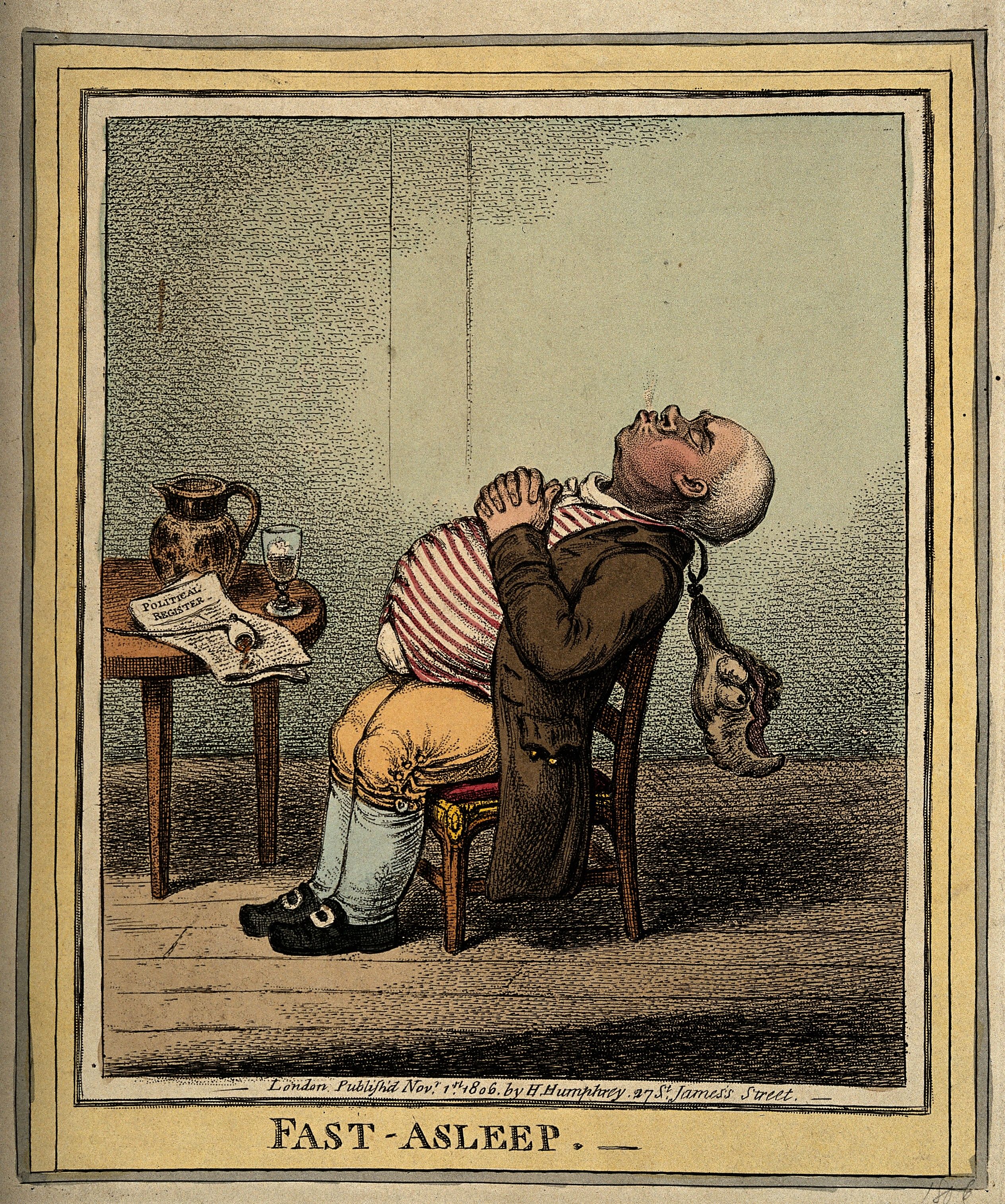 """A man fast asleep with his head back and wig dangling. Colou Wellcome V0010878"" by http://wellcomeimages.org/indexplus/obf_images/8d/55/d327d34b4143a01eb66d803e568e.jpgGallery: http://wellcomeimages.org/indexplus/image/V0010878.html. Licensed under CC BY 4.0 via Wikimedia Commons - http://commons.wikimedia.org/wiki/File:A_man_fast_asleep_with_his_head_back_and_wig_dangling._Colou_Wellcome_V0010878.jpg#/media/File:A_man_fast_asleep_with_his_head_back_and_wig_dangling._Colou_Wellcome_V0010878.jpg"