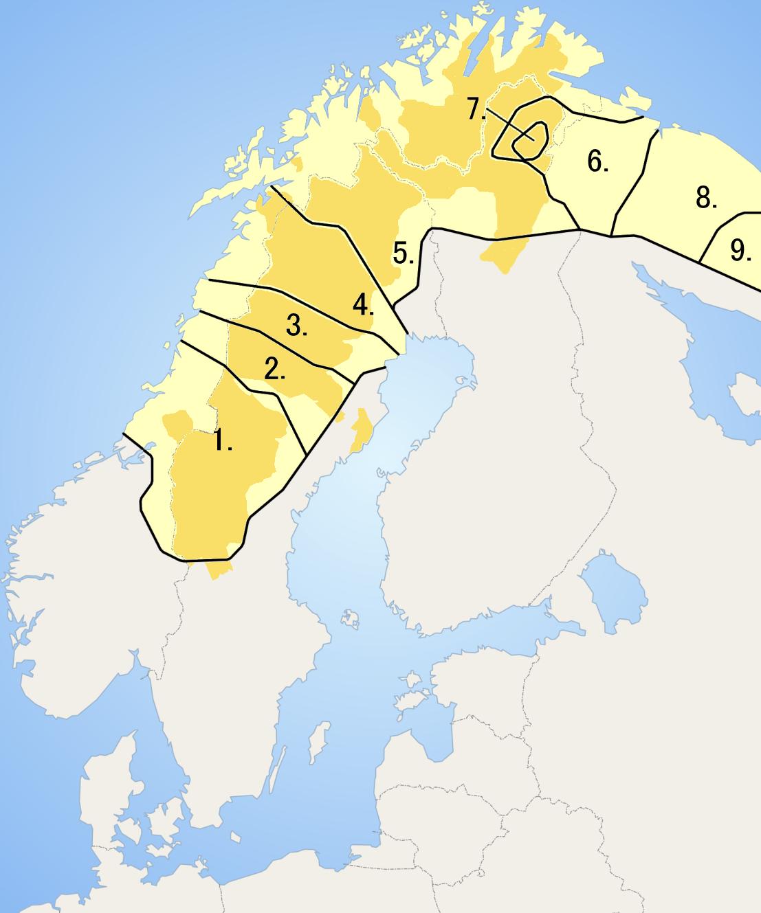 Samiskans ungefärliga utbredningsområde. Den samiska som talas i område 1 och den som talas i område 9 är mer olika än svenska och isländska. Samiskan räknas ändå ofta som ett (!) språk, av historiska och kulturella skäl.