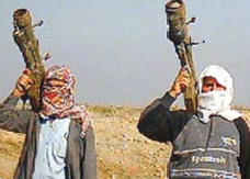 English: Two insurgents in Iraq with SA-7b and...