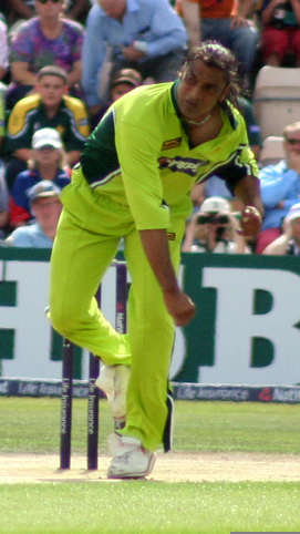Pakistani cricketer Shoaib Akhtar in action