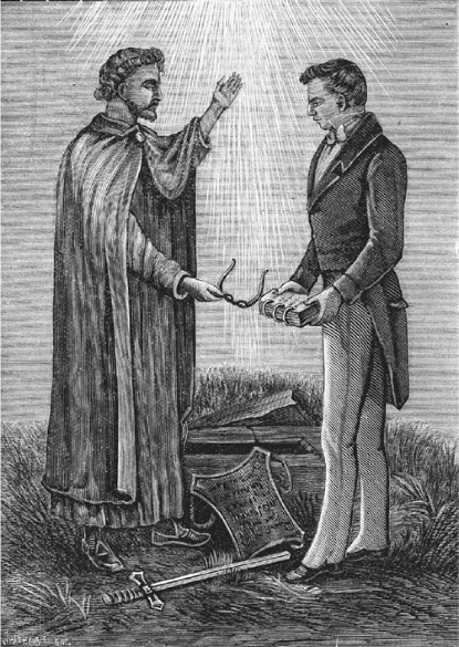 Joseph Smith receiving the gold plates from the angel Moroni