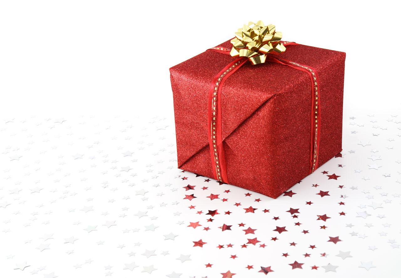 Red wrapped present