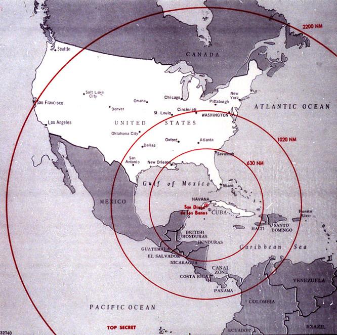 Zasięg rakiet rozlokowanych w 1962 r. na Kubie