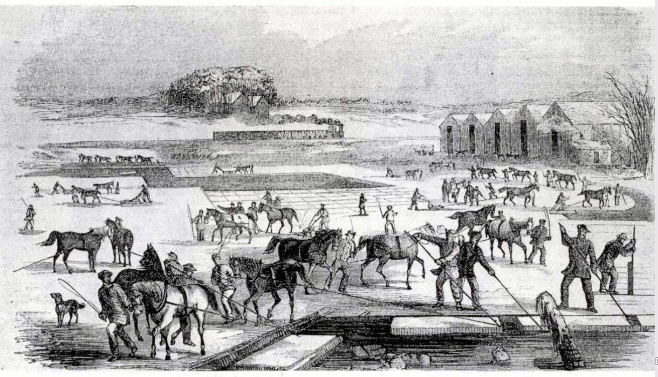 Ice Harvesting, Massachusetts, early 1850s. [Source: Gleason's Drawing Room Companion, 1852, p.37]