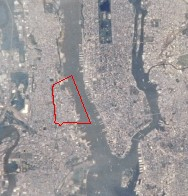 Image of Hoboken taken by NASA (red line shows...