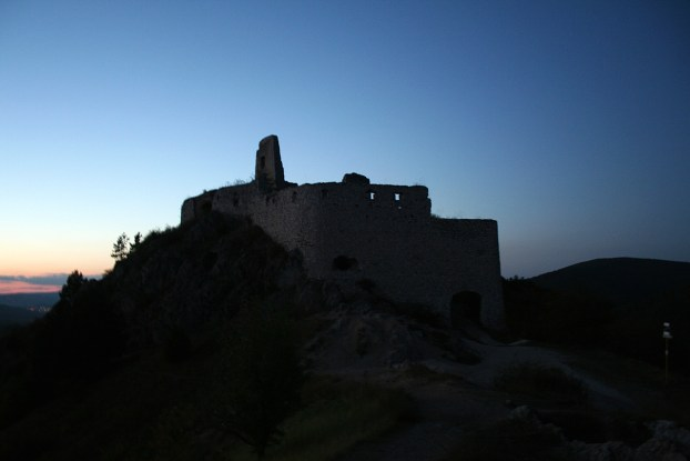 Cachtice Castle by night