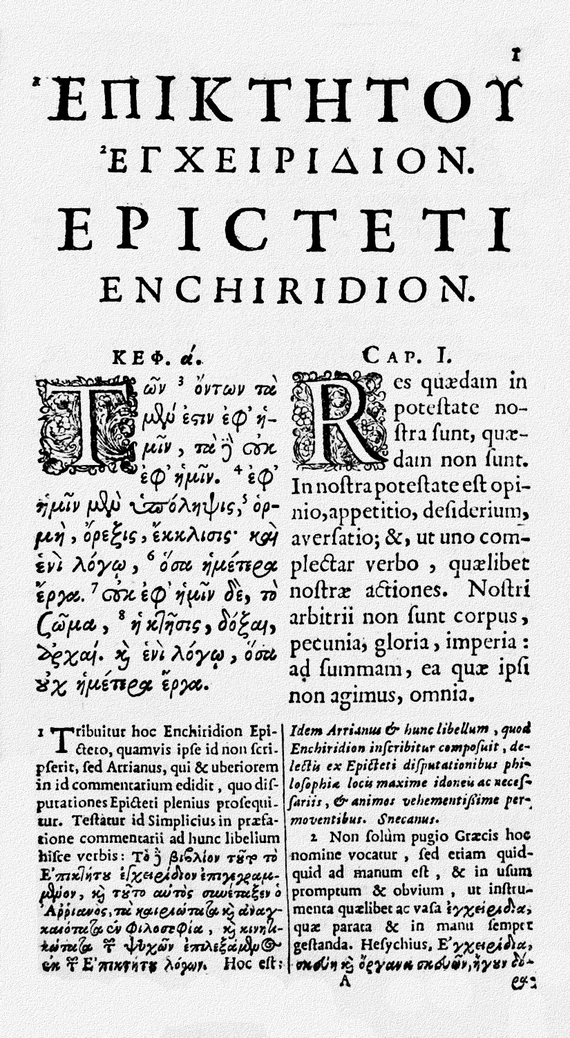 English: Chapter 1, page 1, of the Enchiridion...