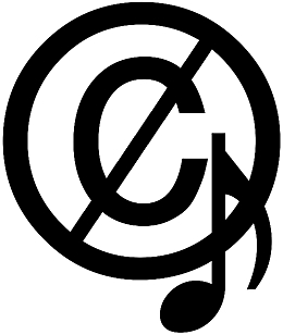 English: The crossed out copyright symbol with...