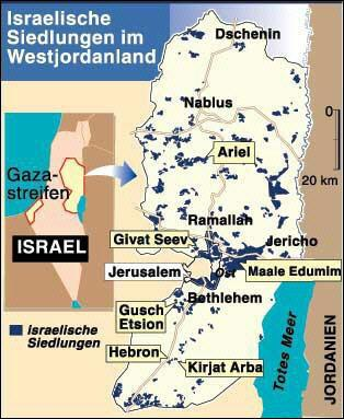 Map of Israeli settlements, in navy blue, in t...