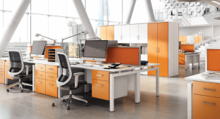 Kit Out My Office's 'HD Colour' (orange) office furniture