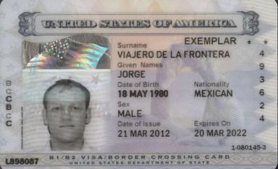 Visa americana de turista para mexicanos en formato laser.